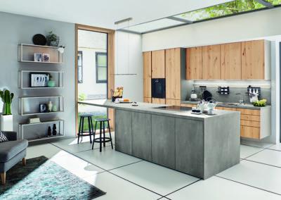 Keuken modern, greeploos, model Montana, betonlook / hout