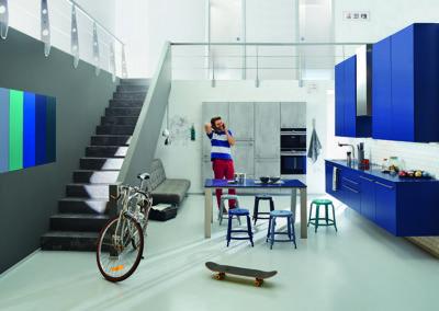 Keuken modern - model Arte, combinatie beton look en lak