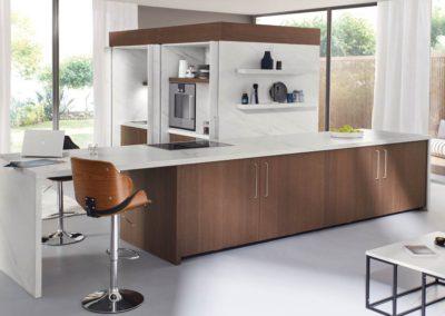 keuken hout met marmerlook