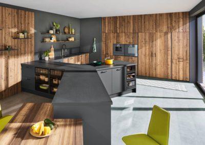 keuken in grafiet grijs met hout